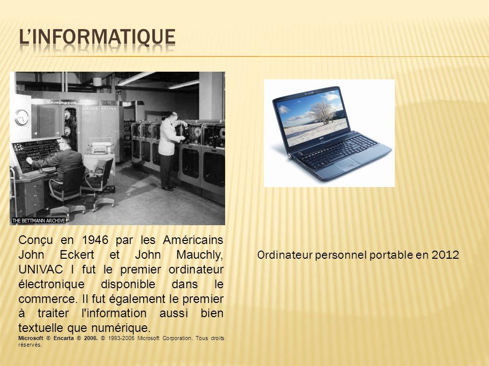 Conçu en 1946 par les Américains John Eckert et John Mauchly, UNIVAC I fut le premier ordinateur électronique disponible dans le commerce.
