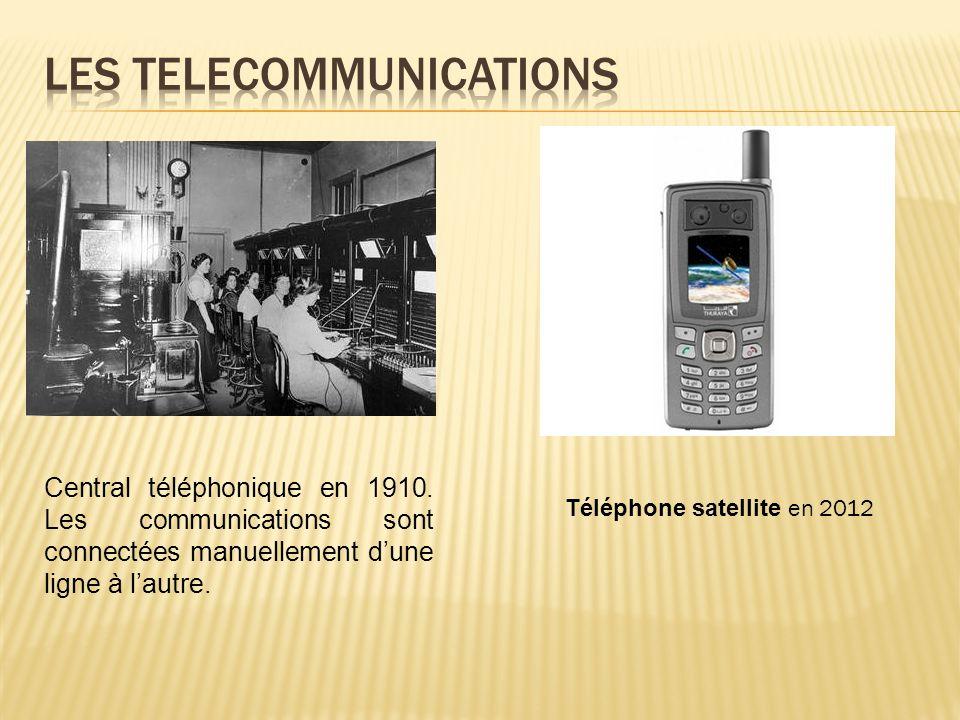 Central téléphonique en 1910. Les communications sont connectées manuellement d'une ligne à l'autre. Téléphone satellite en 2012