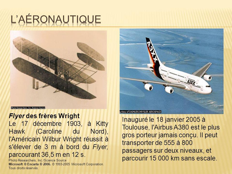 Flyer des frères Wright Le 17 décembre 1903, à Kitty Hawk (Caroline du Nord), l'Américain Wilbur Wright réussit à s'élever de 3 m à bord du Flyer, par