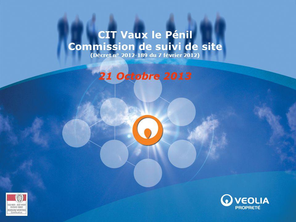 CIT Vaux le Pénil Commission de suivi de site (Décret n° 2012-189 du 7 février 2012) 21 Octobre 2013