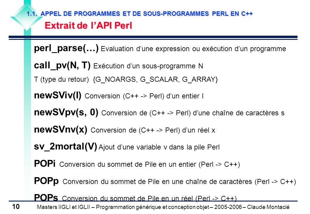 Masters IIGLI et IGLII – Programmation générique et conception objet – 2005-2006 – Claude Montacié 10 1.1.