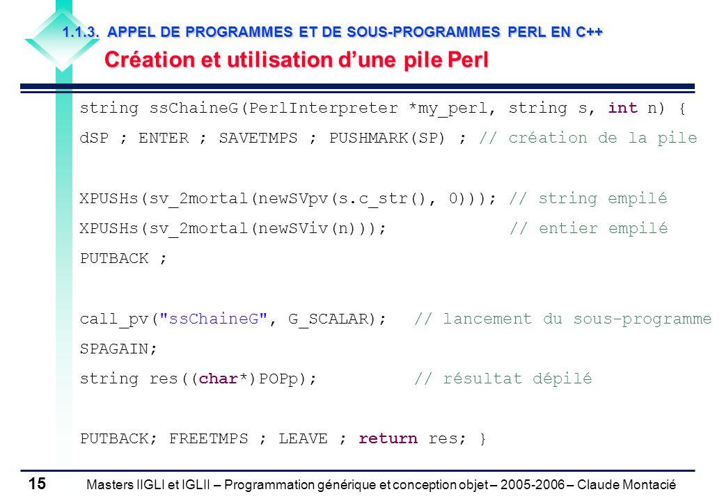 Masters IIGLI et IGLII – Programmation générique et conception objet – 2005-2006 – Claude Montacié 15 1.1.3.