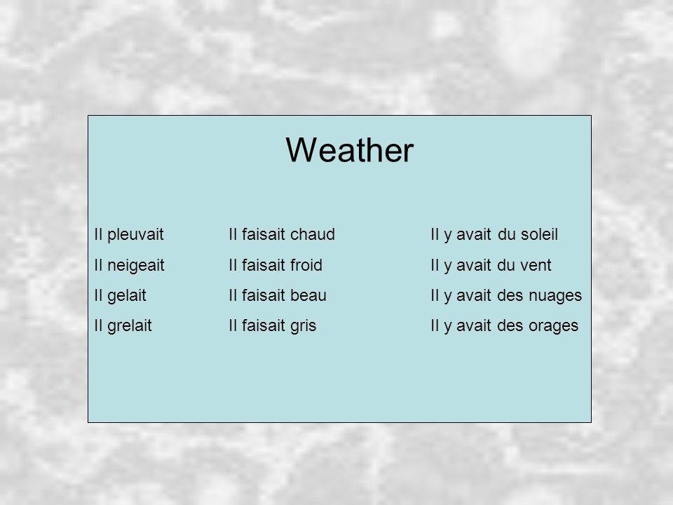 Weather Il pleuvaitIl faisait chaudIl y avaitdu soleil Il neigeaitIl faisait froidIl y avait du vent Il gelaitIl faisait beauIl y avait des nuages Il grelaitIl faisait grisIl y avait des orages