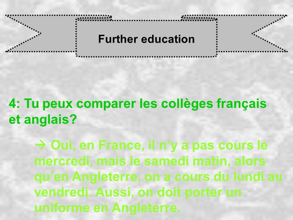 Further education 4: Tu peux comparer les collèges français et anglais.