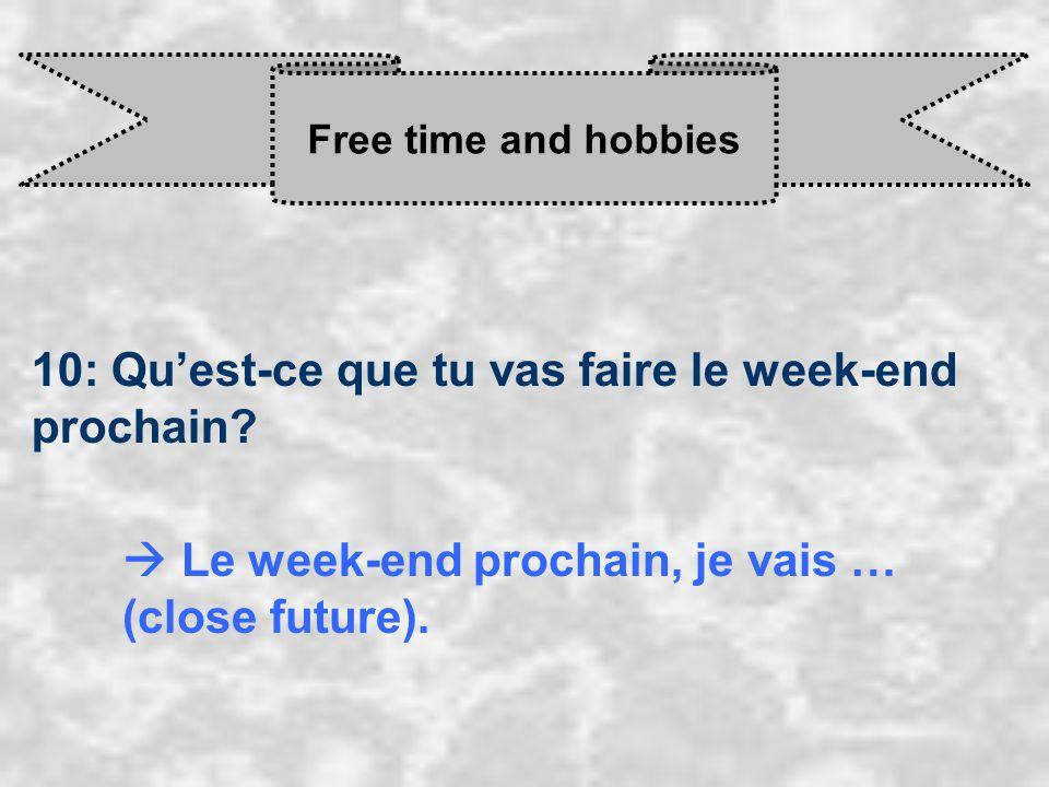 Free time and hobbies 10: Qu'est-ce que tu vas faire le week-end prochain.