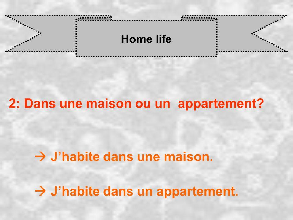 Home life 2: Dans une maison ou un appartement.  J'habite dans une maison.