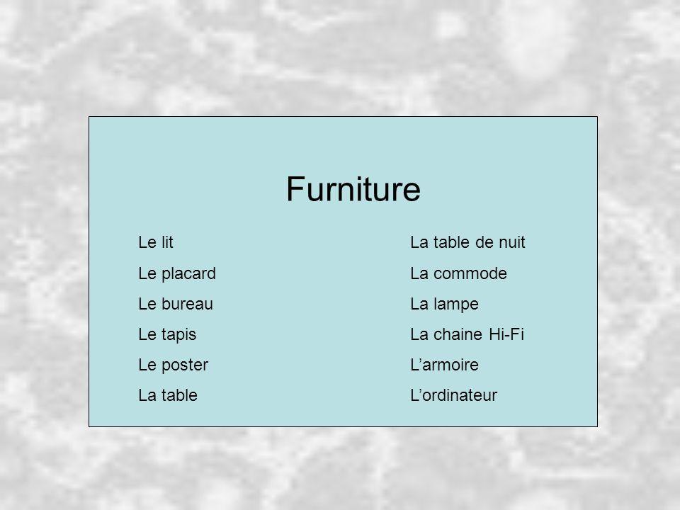 Furniture Le litLa table de nuit Le placardLa commode Le bureauLa lampe Le tapisLa chaine Hi-Fi Le posterL'armoire La tableL'ordinateur