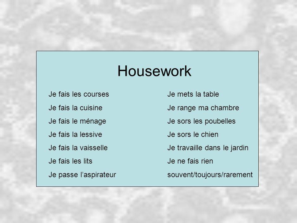 Housework Je fais les coursesJe mets la table Je fais la cuisineJe range ma chambre Je fais le ménageJe sors les poubelles Je fais la lessiveJe sors le chien Je fais la vaisselleJe travaille dans le jardin Je fais les litsJe ne fais rien Je passe l'aspirateursouvent/toujours/rarement