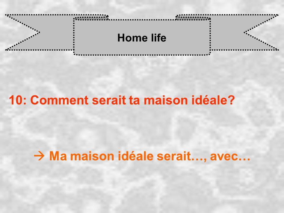 Home life 10: Comment serait ta maison idéale  Ma maison idéale serait…, avec…