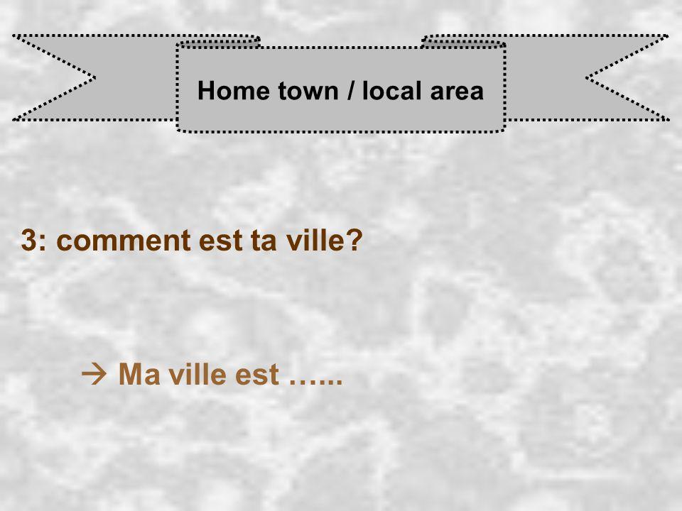 Home town / local area 3: comment est ta ville  Ma ville est …...