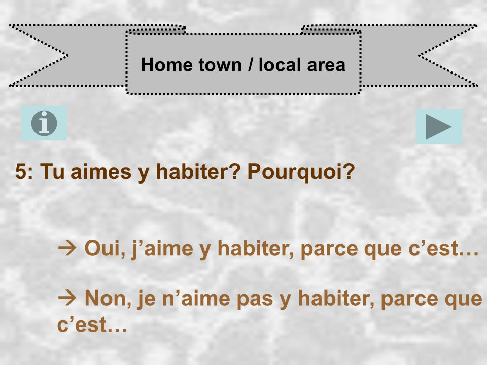 Home town / local area 5: Tu aimes y habiter. Pourquoi.