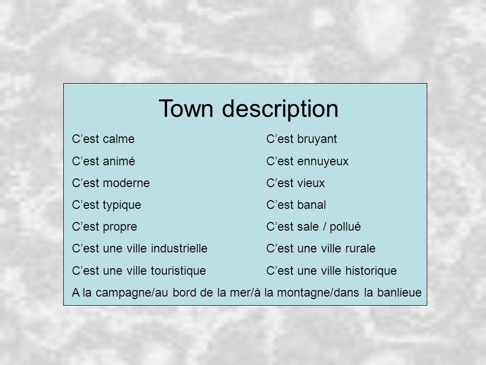 Town description C'est calmeC'est bruyant C'est animéC'est ennuyeux C'est moderneC'est vieux C'est typiqueC'est banal C'est propreC'est sale / pollué C'est une ville industrielleC'est une ville rurale C'est une ville touristiqueC'est une ville historique A la campagne/au bord de la mer/à la montagne/dans la banlieue