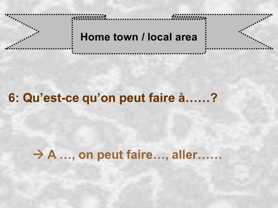 Home town / local area 6: Qu'est-ce qu'on peut faire à……  A …, on peut faire…, aller……