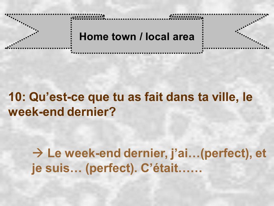 Home town / local area 10: Qu'est-ce que tu as fait dans ta ville, le week-end dernier.