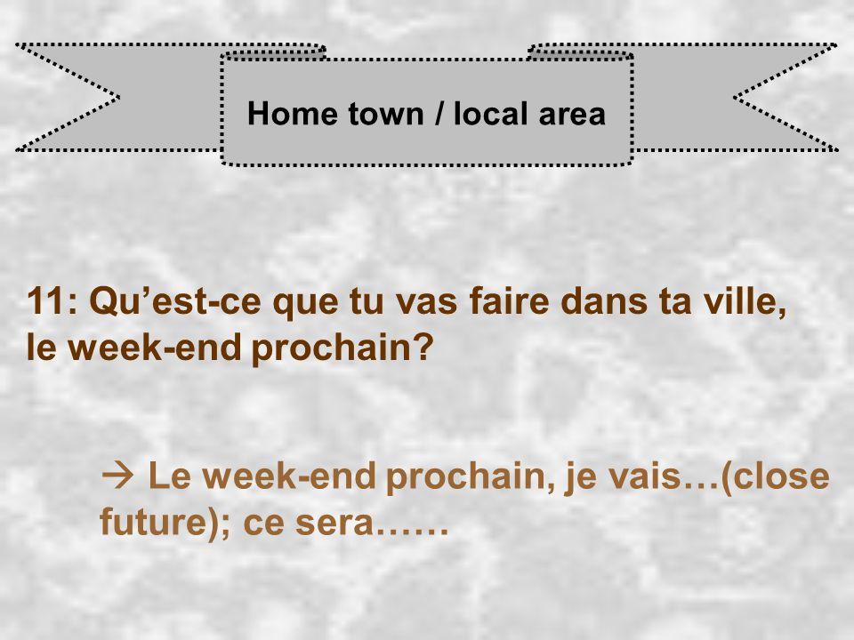Home town / local area 11: Qu'est-ce que tu vas faire dans ta ville, le week-end prochain.