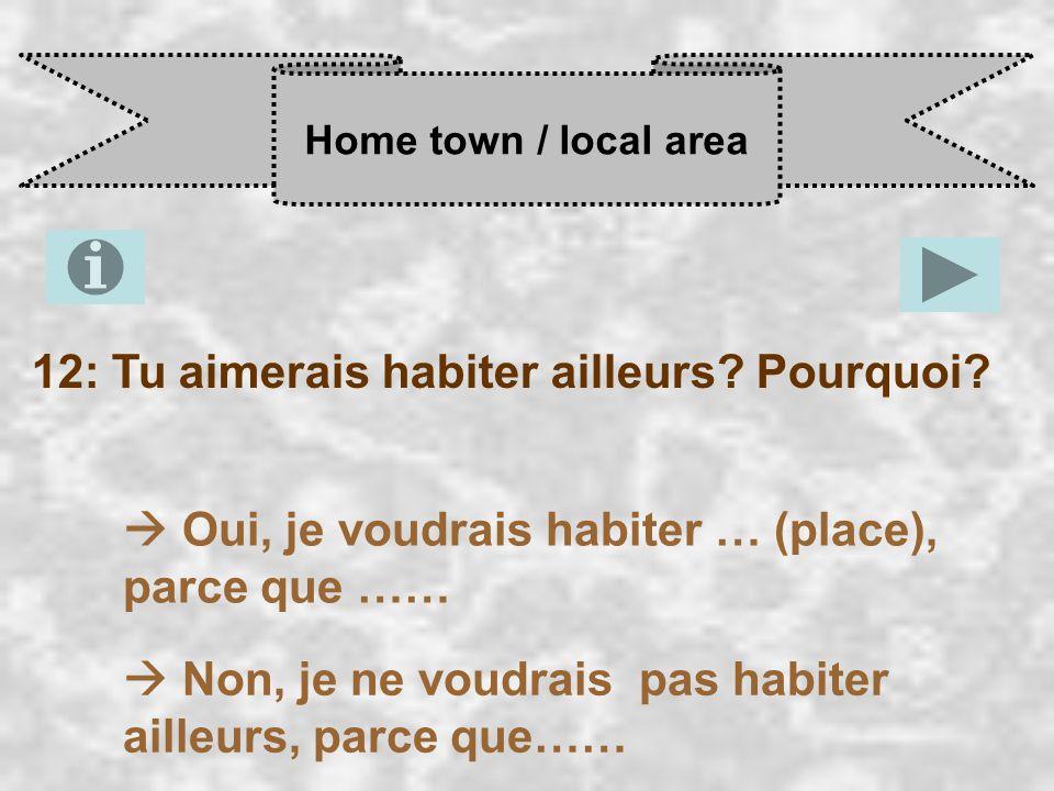 Home town / local area 12: Tu aimerais habiter ailleurs.