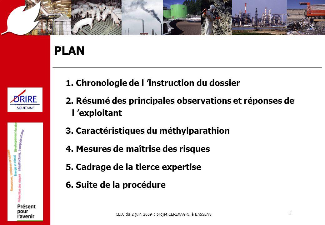 CLIC du 2 juin 2009 : projet CEREXAGRI à BASSENS 1 PLAN 1. Chronologie de l 'instruction du dossier 2. Résumé des principales observations et réponses