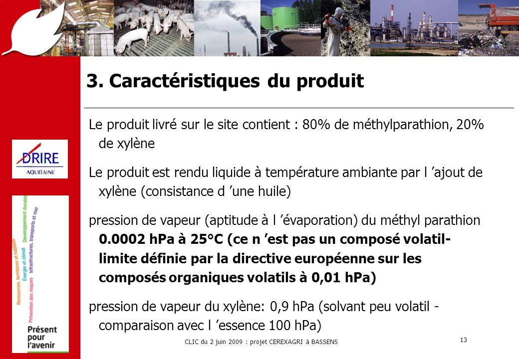 CLIC du 2 juin 2009 : projet CEREXAGRI à BASSENS 13 3. Caractéristiques du produit Le produit livré sur le site contient : 80% de méthylparathion, 20%