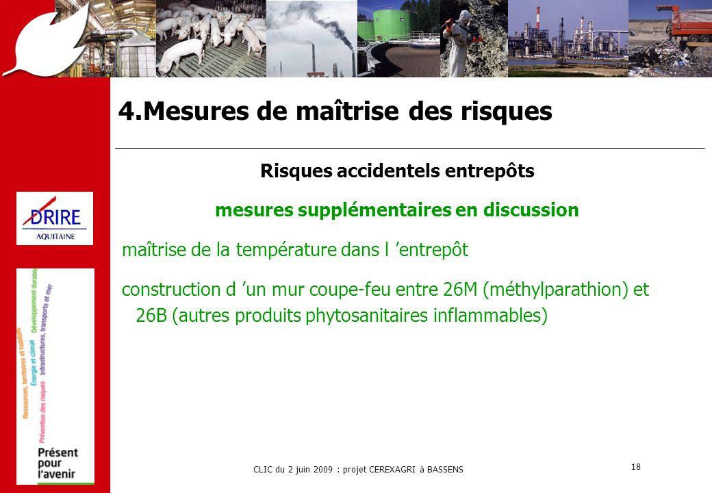 CLIC du 2 juin 2009 : projet CEREXAGRI à BASSENS 18 4.Mesures de maîtrise des risques Risques accidentels entrepôts mesures supplémentaires en discuss