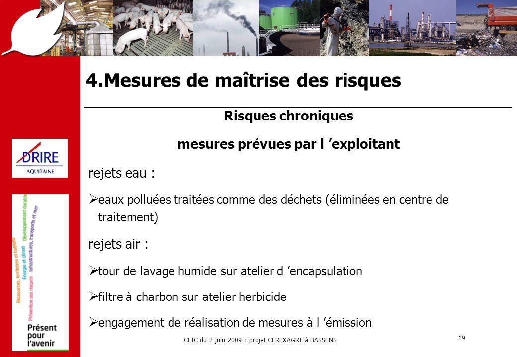 CLIC du 2 juin 2009 : projet CEREXAGRI à BASSENS 19 4.Mesures de maîtrise des risques Risques chroniques mesures prévues par l 'exploitant rejets eau