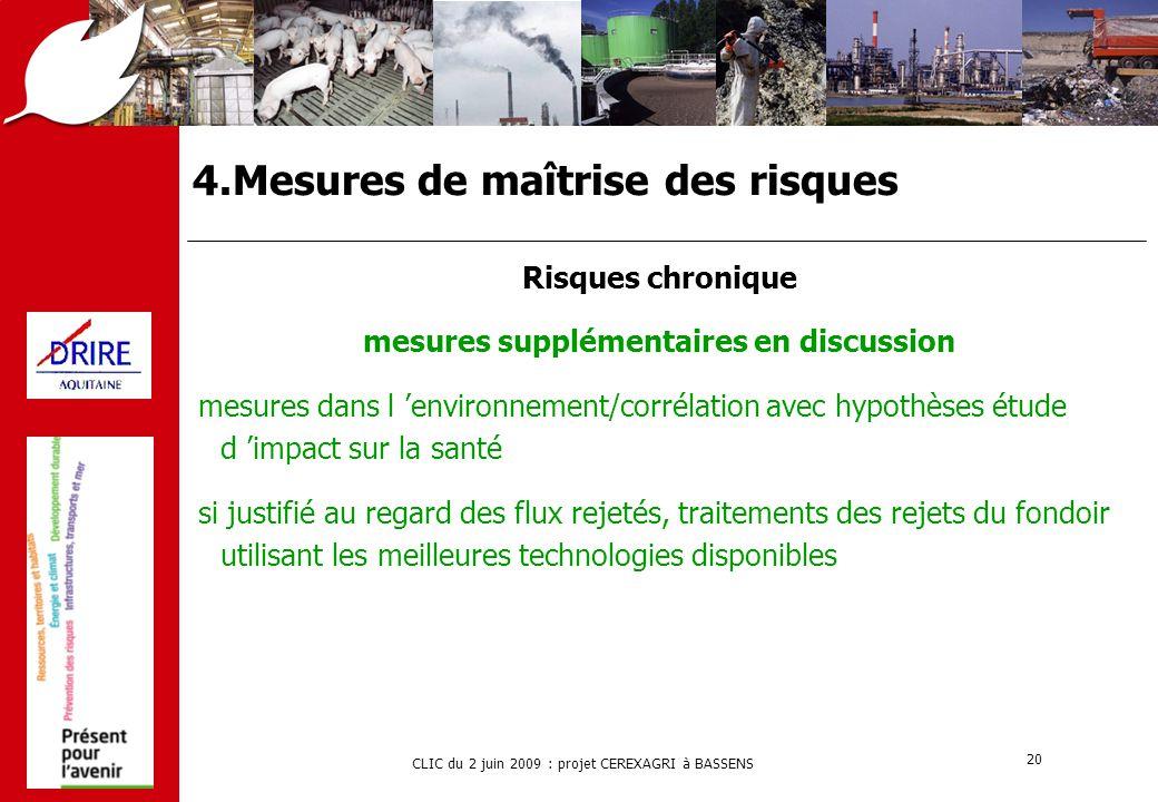 CLIC du 2 juin 2009 : projet CEREXAGRI à BASSENS 20 4.Mesures de maîtrise des risques Risques chronique mesures supplémentaires en discussion mesures