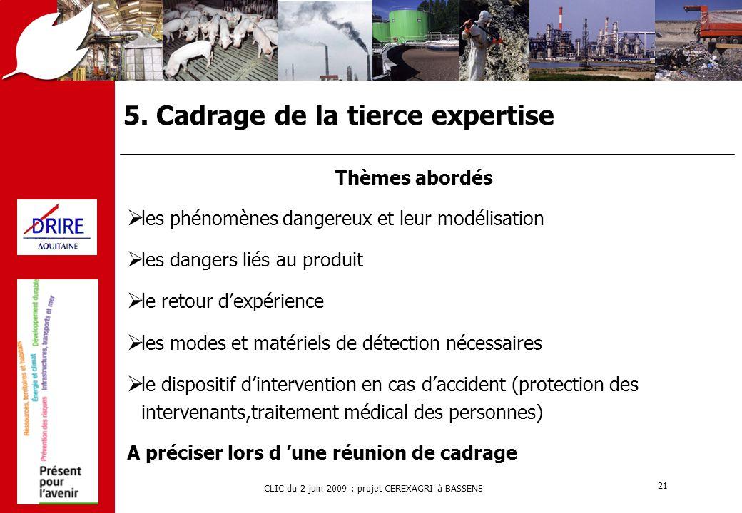 CLIC du 2 juin 2009 : projet CEREXAGRI à BASSENS 21 5. Cadrage de la tierce expertise Thèmes abordés  les phénomènes dangereux et leur modélisation 