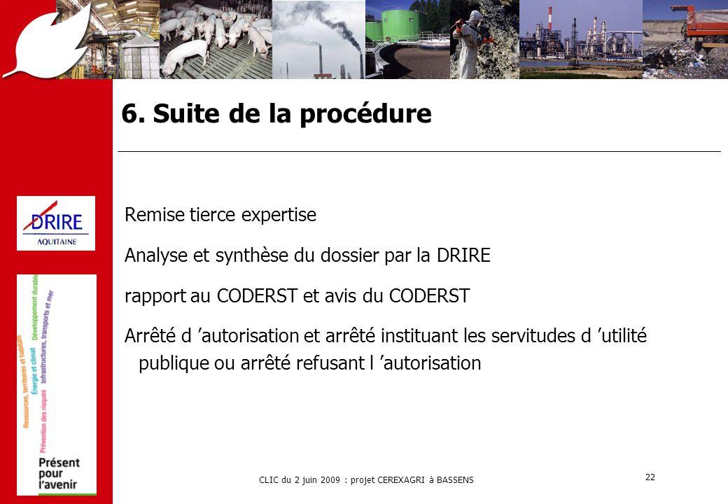 CLIC du 2 juin 2009 : projet CEREXAGRI à BASSENS 22 6. Suite de la procédure Remise tierce expertise Analyse et synthèse du dossier par la DRIRE rappo