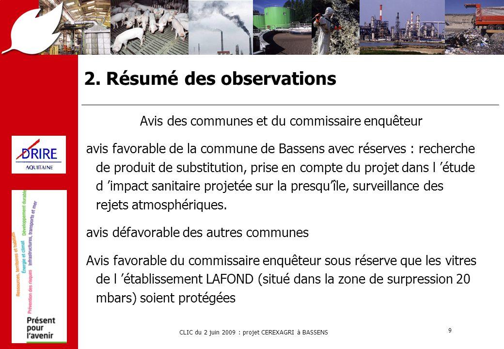 CLIC du 2 juin 2009 : projet CEREXAGRI à BASSENS 9 2. Résumé des observations Avis des communes et du commissaire enquêteur avis favorable de la commu