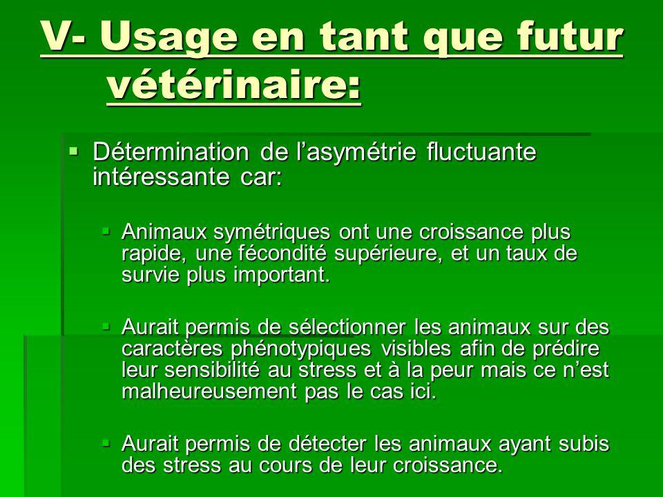 V- Usage en tant que futur vétérinaire:  Détermination de l'asymétrie fluctuante intéressante car:  Animaux symétriques ont une croissance plus rapide, une fécondité supérieure, et un taux de survie plus important.