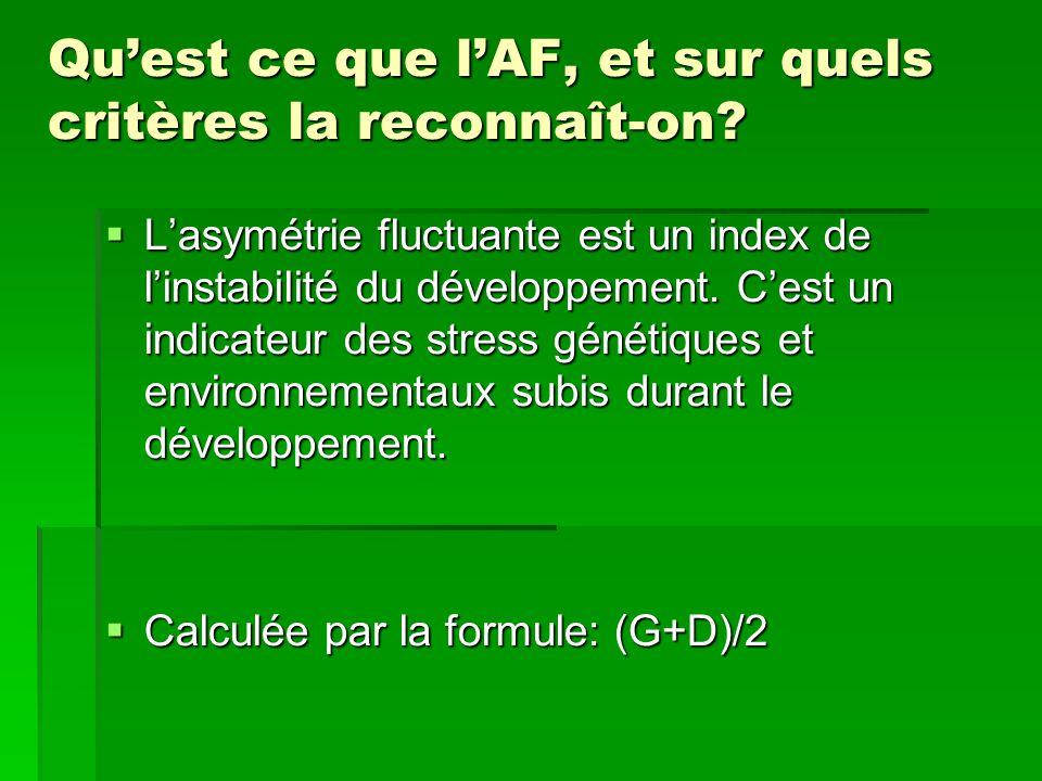 Qu'est ce que l'AF, et sur quels critères la reconnaît-on?  L'asymétrie fluctuante est un index de l'instabilité du développement. C'est un indicateu