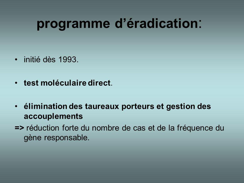 programme d'éradication : •initié dès 1993. •test moléculaire direct. •élimination des taureaux porteurs et gestion des accouplements => réduction for