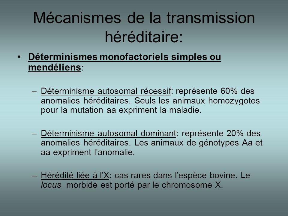 Mécanismes de la transmission héréditaire: •Déterminismes monofactoriels simples ou mendéliens : –Déterminisme autosomal récessif: représente 60% des