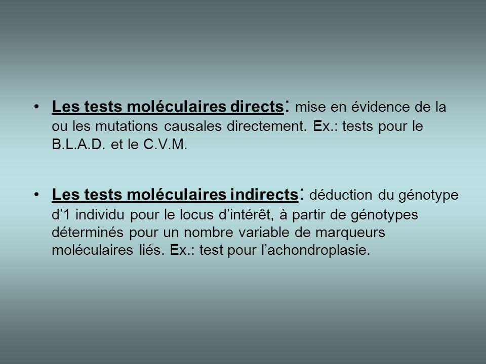 •Les tests moléculaires directs : mise en évidence de la ou les mutations causales directement. Ex.: tests pour le B.L.A.D. et le C.V.M. •Les tests mo