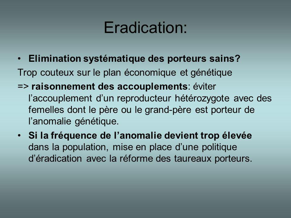 Eradication: •Elimination systématique des porteurs sains? Trop couteux sur le plan économique et génétique => raisonnement des accouplements: éviter