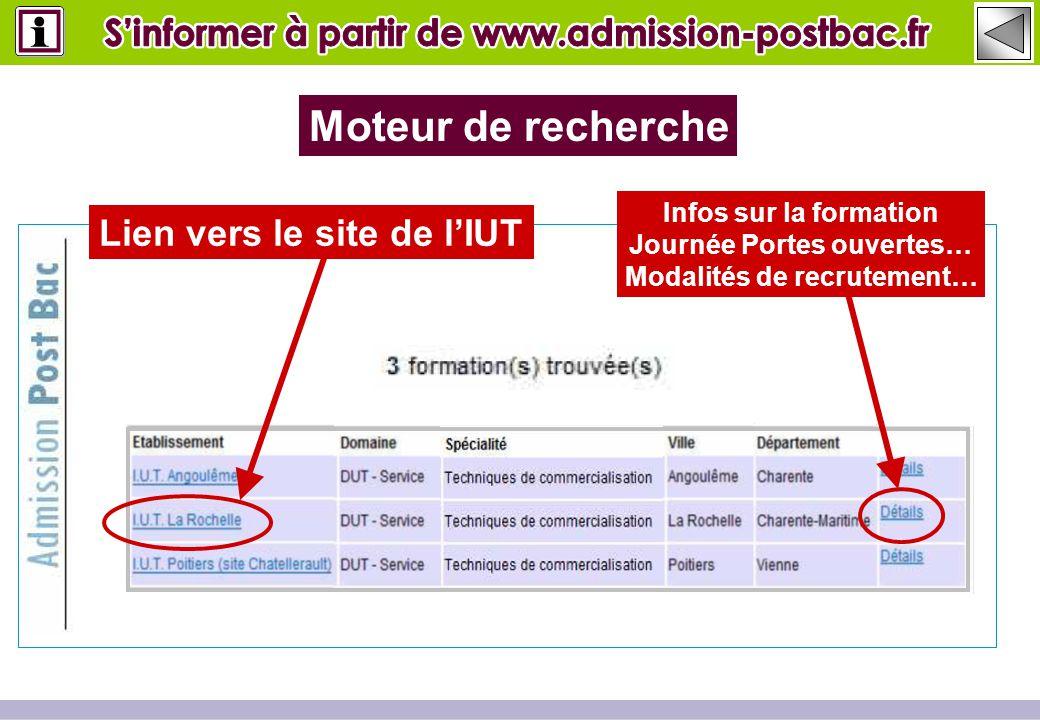 Lien vers le site de l'IUT Moteur de recherche Infos sur la formation Journée Portes ouvertes… Modalités de recrutement…