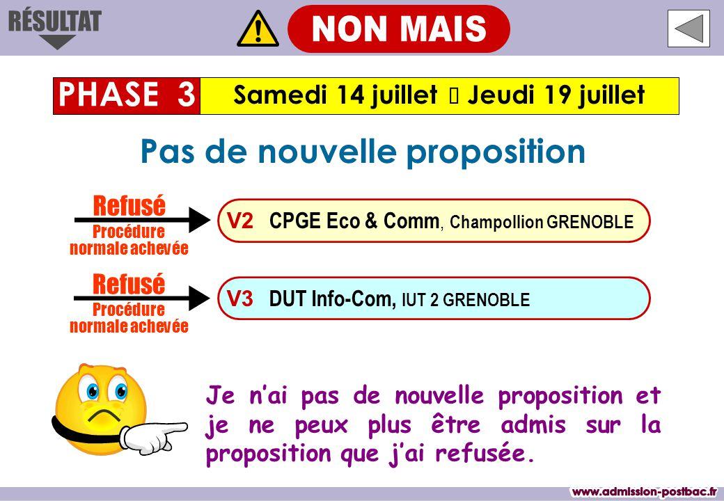 Samedi 14 juillet  Jeudi 19 juillet PHASE 3 Je n'ai pas de nouvelle proposition et je ne peux plus être admis sur la proposition que j'ai refusée.