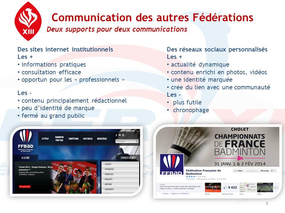 Communication des autres Fédérations Deux supports pour deux communications 4 Des sites internet institutionnels Les + • informations pratiques • cons