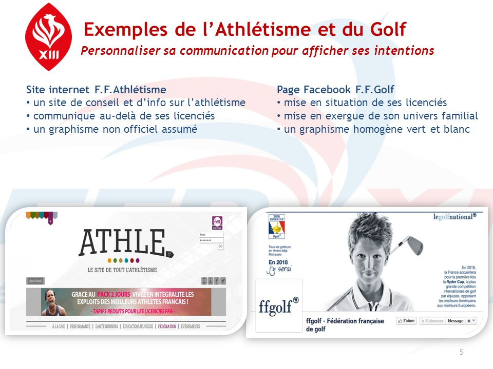 Exemples de l'Athlétisme et du Golf Personnaliser sa communication pour afficher ses intentions 5 Site internet F.F.Athlétisme • un site de conseil et