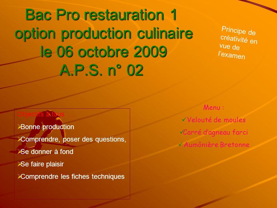 Bac Pro restauration 1 option production culinaire le 06 octobre 2009 A.P.S. n° 02 Menu :  Velouté de moules  Carré d'agneau farci  Aumônière Breto