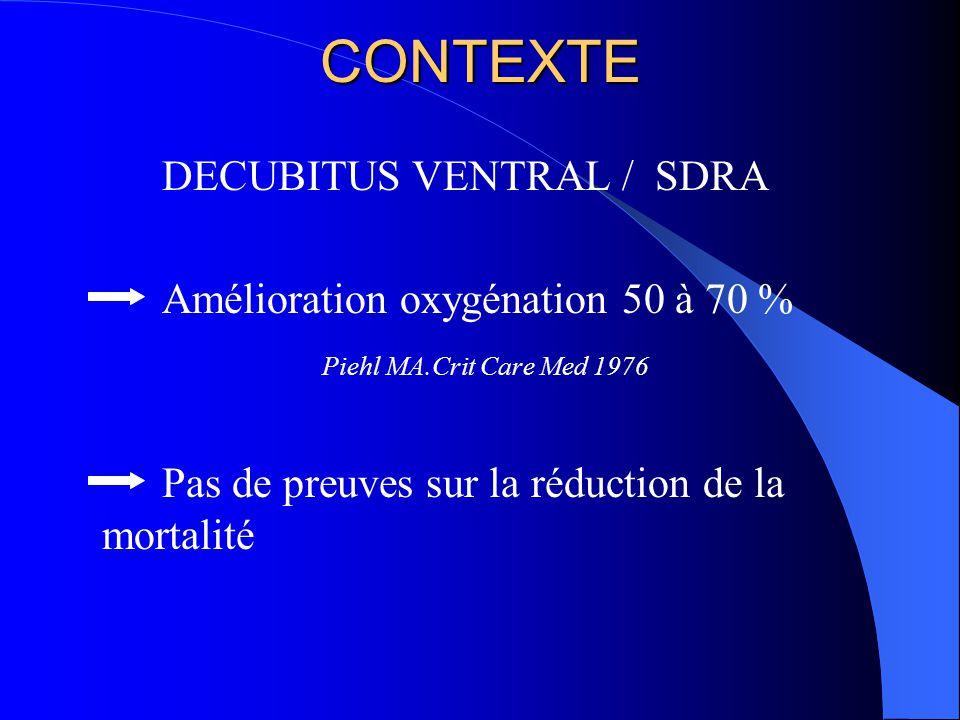CONTEXTE DECUBITUS VENTRAL / SDRA Amélioration oxygénation 50 à 70 % Piehl MA.Crit Care Med 1976 Pas de preuves sur la réduction de la mortalité