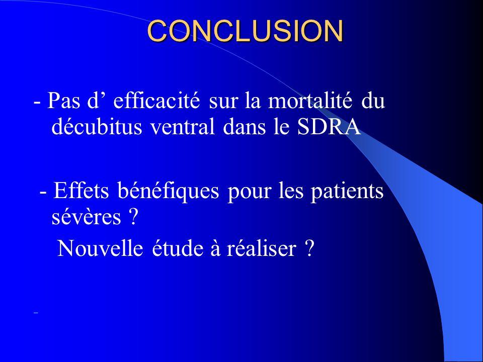 CONCLUSION - Pas d' efficacité sur la mortalité du décubitus ventral dans le SDRA - Effets bénéfiques pour les patients sévères .