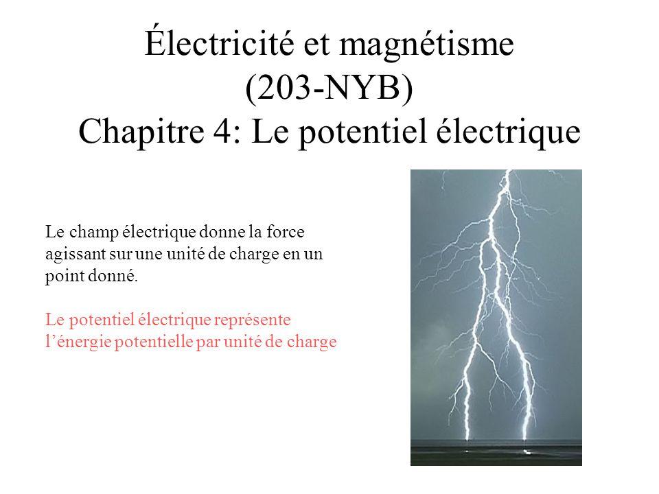4.1 Le potentiel électrique •Le potentiel électrique est défini comme l énergie potentielle électrique U, que possède un objet chargé par unité de charge •Le potentiel électrique, qui se mesure en joules par coulomb (J/C), est analogue au potentiel gravitationnel.