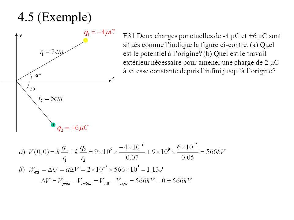 4.5 (Exemple) E31 Deux charges ponctuelles de -4 μC et +6 μC sont situés comme l'indique la figure ci-contre. (a) Quel est le potentiel à l'origine? (