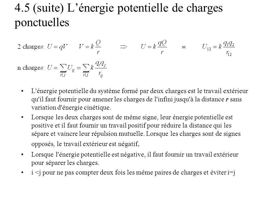 4.5 (suite) L'énergie potentielle de charges ponctuelles •L'énergie potentielle du système formé par deux charges est le travail extérieur qu'il faut
