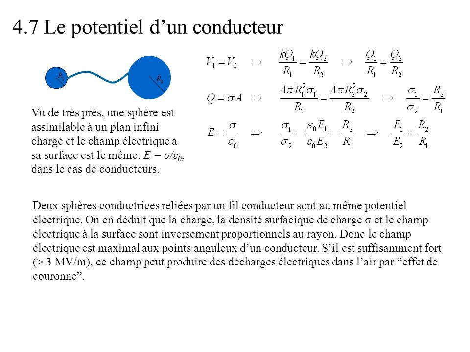 4.7 Le potentiel d'un conducteur Vu de très près, une sphère est assimilable à un plan infini chargé et le champ électrique à sa surface est le même: