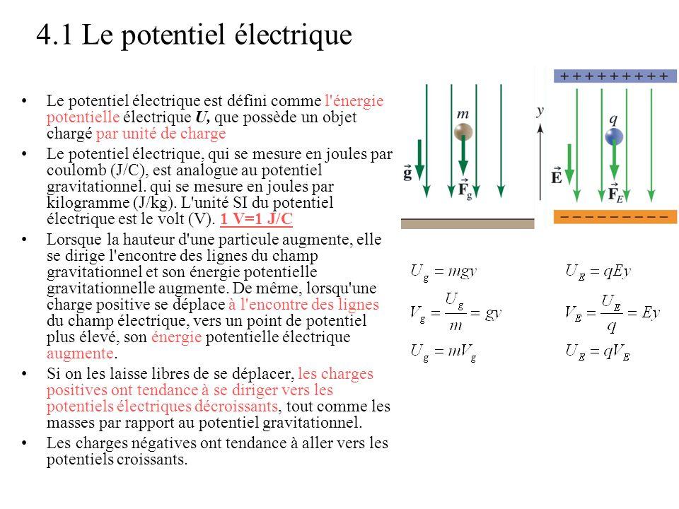 4.1 Le potentiel électrique •Le potentiel électrique est défini comme l'énergie potentielle électrique U, que possède un objet chargé par unité de cha