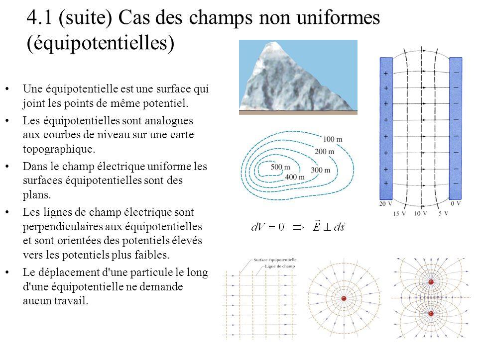 4.1 (suite) Cas des champs non uniformes (équipotentielles) •Une équipotentielle est une surface qui joint les points de même potentiel. •Les équipote