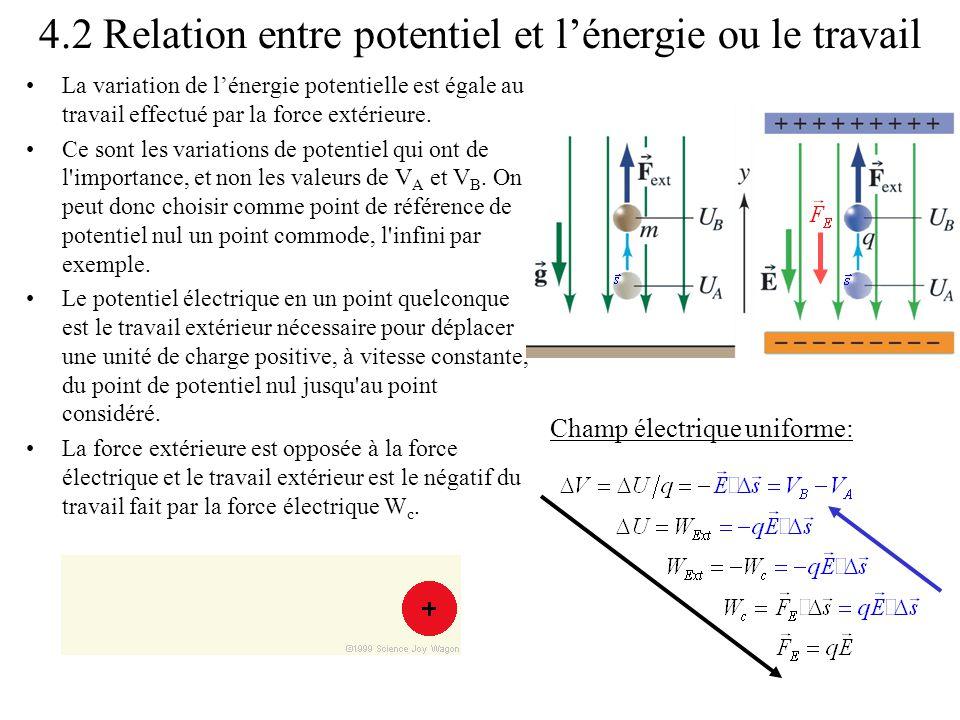 4.2 Relation entre potentiel et l'énergie ou le travail •La variation de l'énergie potentielle est égale au travail effectué par la force extérieure.