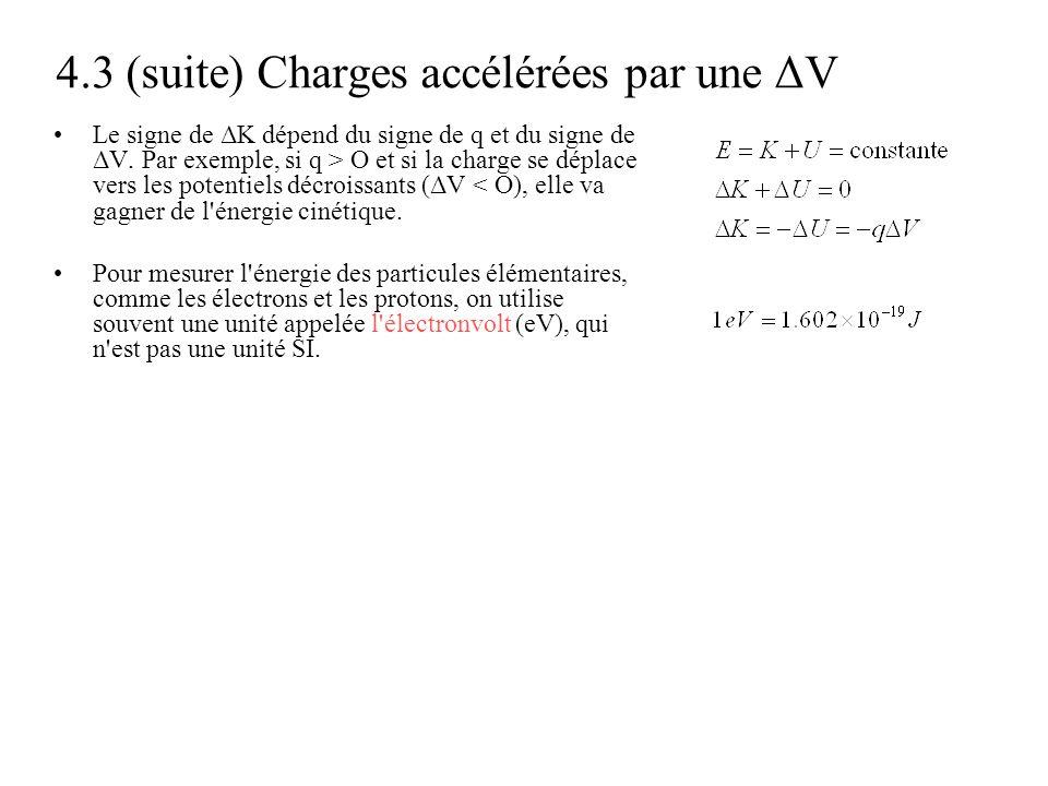 4.3 (suite) Charges accélérées par une ΔV •Le signe de ΔK dépend du signe de q et du signe de ΔV. Par exemple, si q > O et si la charge se déplace ver