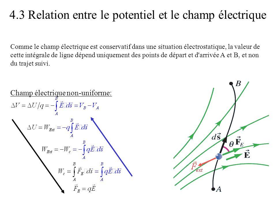 4.4 Le potentiel et l énergie potentielle dans un champ électrique uniforme V(x) -Ex x •Dans un champ uniforme, le potentiel décroît linéairement avec la distance le long des lignes de champ.